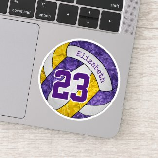 purple gold girls' volleyball player team colors sticker