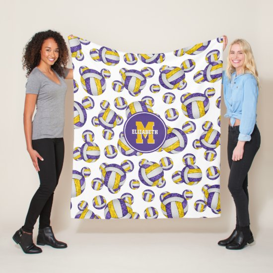 purple gold girls volleyball team colors monogram fleece blanket