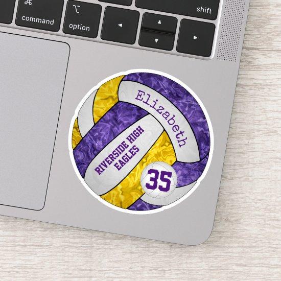purple gold girls' volleyball w school mascot name sticker