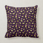 Purple & Gold Glam Leopard Throw Pillow