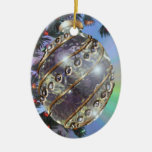 Purple Gold Glass Bulb Double-Sided Oval Ceramic Christmas Ornament