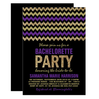 Purple & Gold Glitter Chevron Bachelorette Party Card