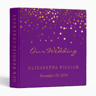 Purple Gold Glitter Faux Foil Confetti Personalize Binder