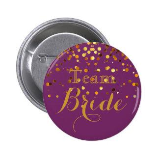 Purple Gold Glitter Faux Foil Wedding Team Bride Button