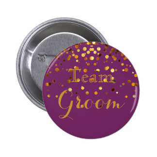 Purple Gold Glitter Faux Foil Wedding Team Groom Button