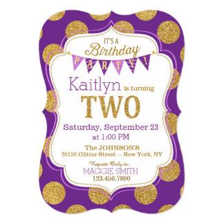 Purple Gold Glitter Sparkle Second Birthday Invite