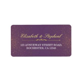 Purple Gold Glitter Sparkle Wedding Address Labels