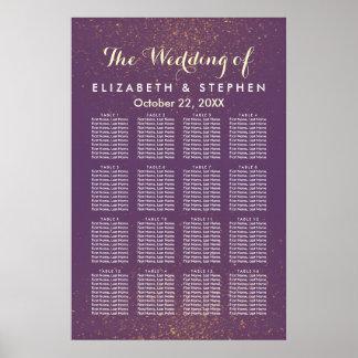 Purple Gold Glitter Sparkle Wedding Seating Chart