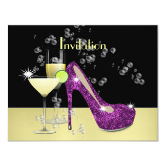 Purple Gold Glitzy Girly Bubbly Shoe Card