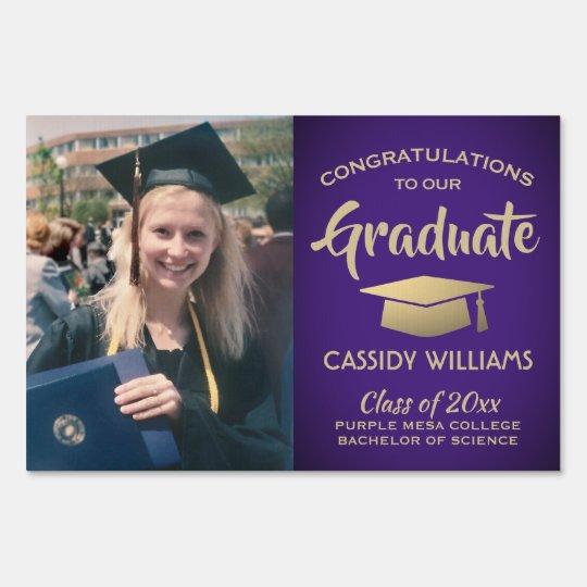 Uw Graduation Ceremony 2020.Purple Gold Graduate Photo Class 2020 Graduation Sign