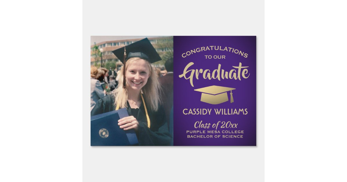 Uw Graduation 2020.Purple Gold Graduate Photo Class 2020 Graduation Sign Zazzle Com
