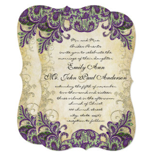 Purple Gold & Green Peacock Wedding Invitations