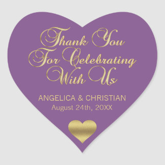 PURPLE Gold Heart Thank you Wedding Seals