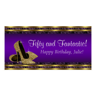 Purple Gold High Heel Birthday Party Banner Poster