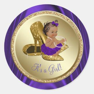 Purple Gold High Heel Shoe Ethnic Girl Baby Shower Classic Round Sticker