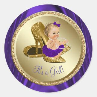Purple Gold High Heel Shoe Girl Baby Shower Classic Round Sticker