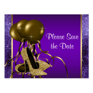 Purple Gold High Heel Shoe Save The Date Postcard