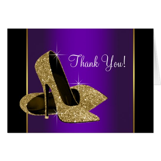 Purple Gold High Heel Shoes Thank You Card | Zazzle.com