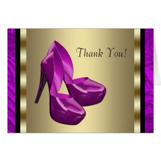 Purple Gold High Heel Shoes Zebra Thank You Cards