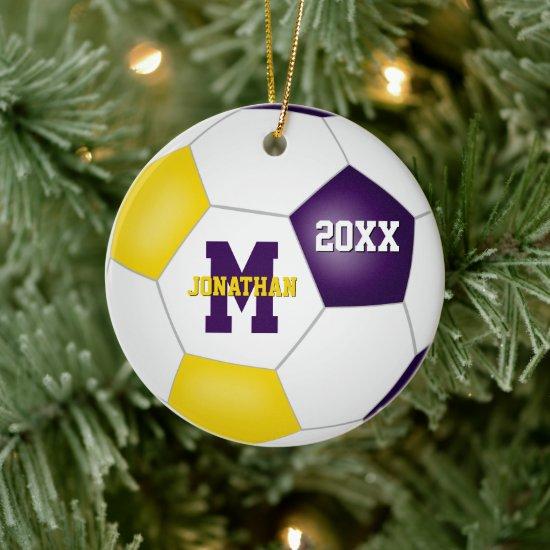 purple gold his her school team colors soccer ceramic ornament