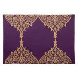 Purple Gold India Motif Design Decoration Filigree Cloth Placemat