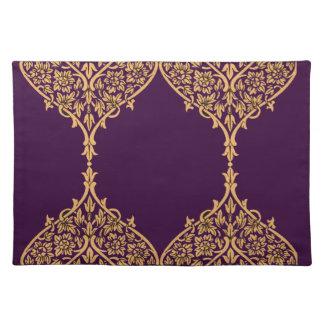 Purple Gold India Motif Design Decoration Filigree Place Mats