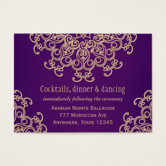 Purple Gold Indian Style Reception Enclosure Card