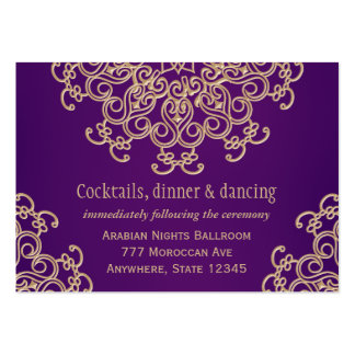 Purple Gold Indian Style Reception Enclosure Card Business Cards