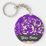 Purple & gold lace damask basic round button keychain