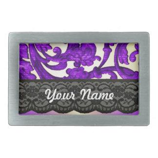 Purple gold lace damask rectangular belt buckles