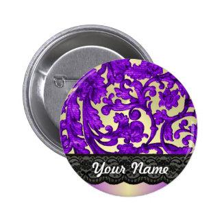 Purple gold lace damask pinback buttons