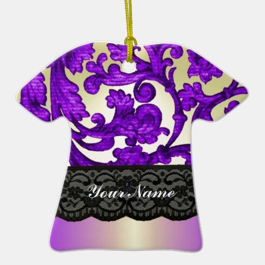 Purple & gold lace damask ceramic ornament