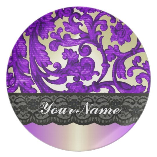 Purple & gold lace damask dinner plate