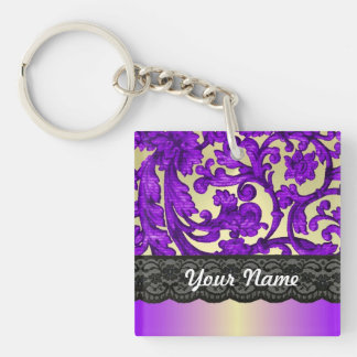 Purple gold lace damask square acrylic keychains