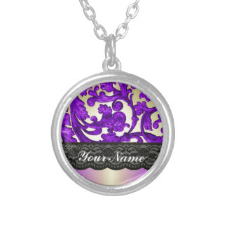 Purple gold lace damask custom jewelry