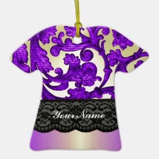 Purple gold lace damask ornament
