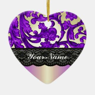 Purple gold lace damask christmas ornament