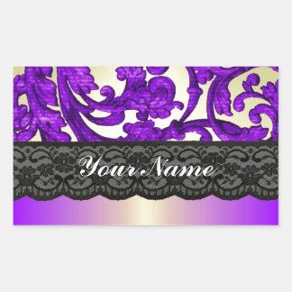 Purple & gold lace damask rectangular sticker