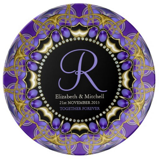 Purple Gold Lace Monogram Wedding Anniversary Gift Plate