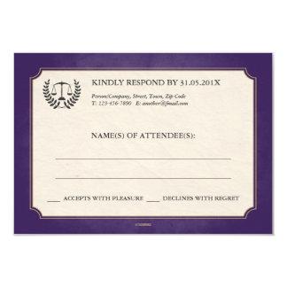 Purple + Gold Law Firm/Law School Graduation RSVP 3.5x5 Paper Invitation Card