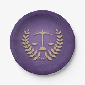 Purple+Gold Legal Practice/Law Graduation Party Paper Plate