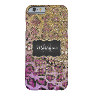 Purple Gold Leopard Animal Print Glitter Look Barely There iPhone 6 Case