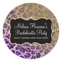 Purple Gold Leopard Animal Print Glitter Look Classic Round Sticker