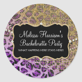 Purple Gold Leopard Animal Print Glitter Look Classic Round Sticker