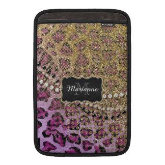 Purple Gold Leopard Animal Print Glitter Look Sleeve For MacBook Air