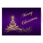 Purple, Gold Lighted Tree Corporate Christmas Card Cards