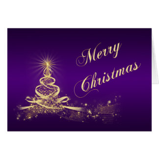 Purple, Gold Lighted Tree Corporate Christmas Card