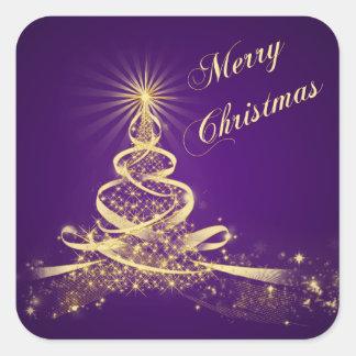 Purple, Gold  Lighted Tree Merry Christmas Sticker