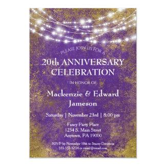 Purple Gold Lights Anniversary Party Invitation