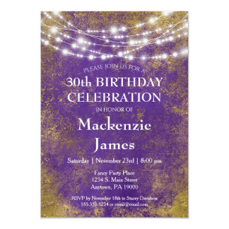 Purple Gold Lights Birthday Party Invitation Adult